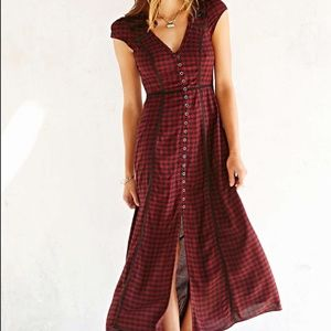 Ecote Urban Outfitters Red/Black Plaid Maxi Dress